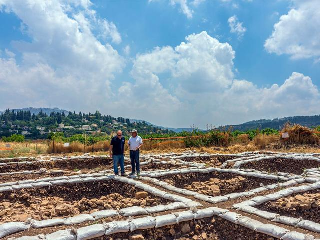 From Right to left: Dr. Hamoudi Khalaily and Dr. Jacob Vardi,  directors of the excavations at Motza on behalf of the Antiquities Authority. Photo: Yaniv Berman, Israel Antiquities Authority.