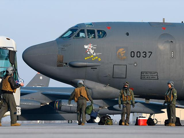 "Pilots board B-52H Stratofortress bomber ""Wham Bam II"" before a flight over the Mideast on March 6, 2021. (U.S. Air Force/Senior Airman Josh W. Strickland via AP)§"