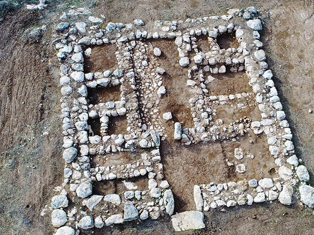 Aerial shot of the Canaanite fortress near Kiryat Gat. Photo Credit: Emil Aladjem, Israel Antiquities Authority