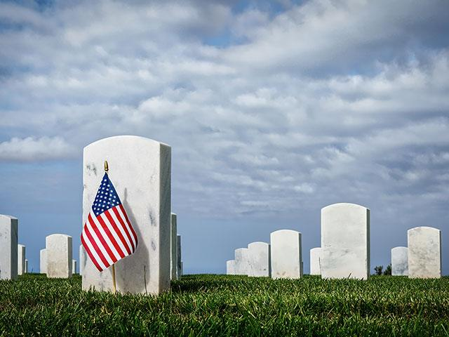 Memorial Day, American flag at a cemetery