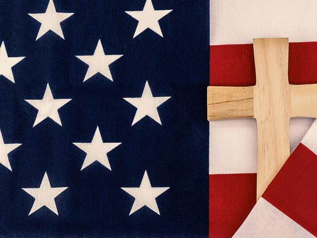 american flag cross