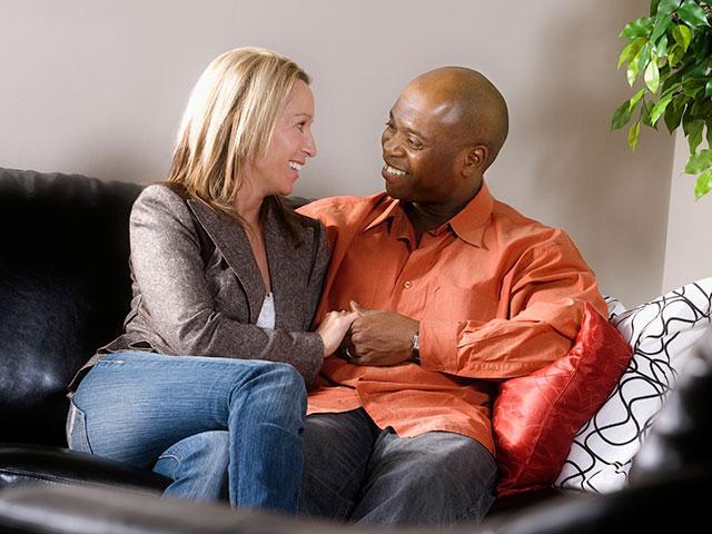 Biracial couple in love