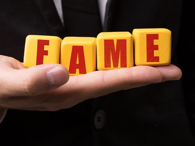 the word fame spelled out with block letters