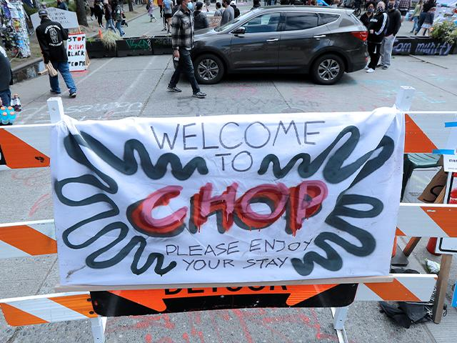 The Capitol Hill Occupied Protest (CHOP) zone in Seattle. Protesters calling for police reform have taken over several blocks near downtown Seattle. CHOP is a change from CHAZ (Capitol Hill Autonomous Zone) that was used earlier (AP Photo/Ted S. Warren)