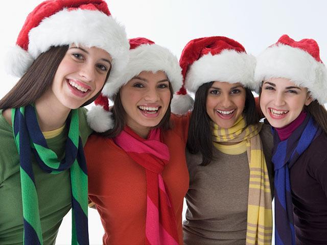 Teen girls at Christmas