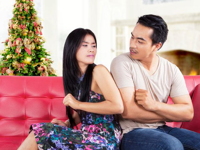 Couple fighting at Christmas