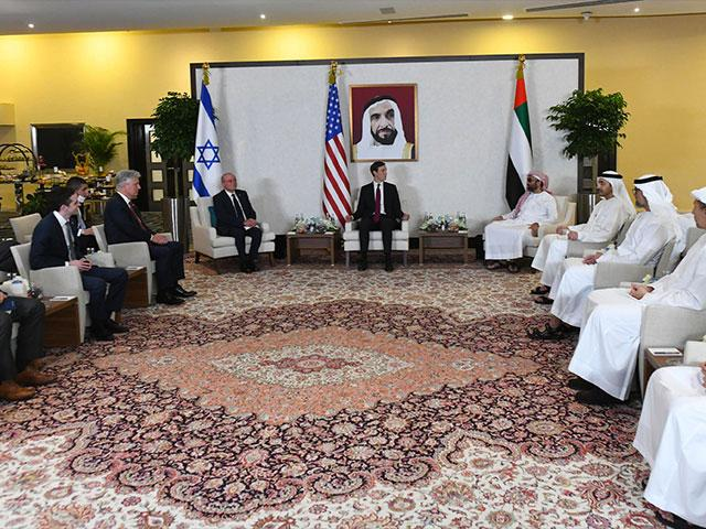 Israeli, American, and UAE officials hold trilateral meetings in Abu Dhabi. August 31, 2020. Photo credit: Amos Ben-Gershom (GPO)