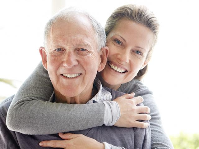 Elderly father with daughter on Father