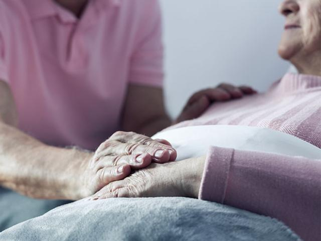 elderly couple at hospital