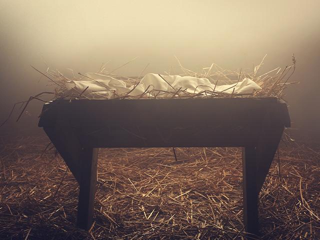 empty manger for a nativity set