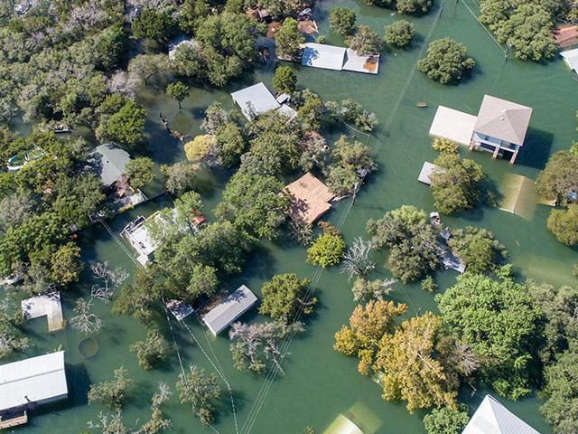 aerial view of flooded neighborhood