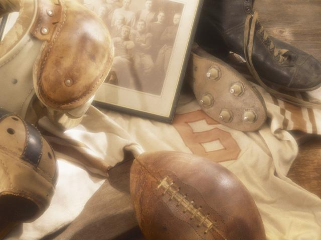 football memorabilia and a football jersey