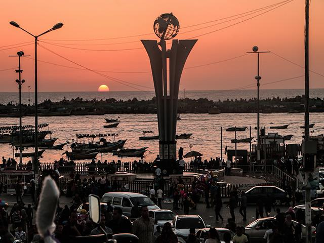 Gaza seaport at sunset