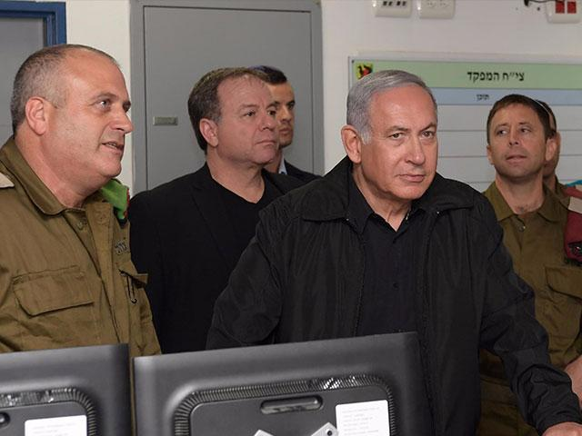 Prime Minister Netanyahu Holds Security Assessment at IDF Gaza Division HQ. Photo, GPO
