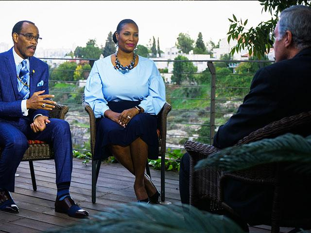 Bishop Glenn Plummer (left) sits with his wife, Dr. Pauline Plummer (right) for an interview with CBN News. Sept. 25. 2020. Photo Credit: CBN News