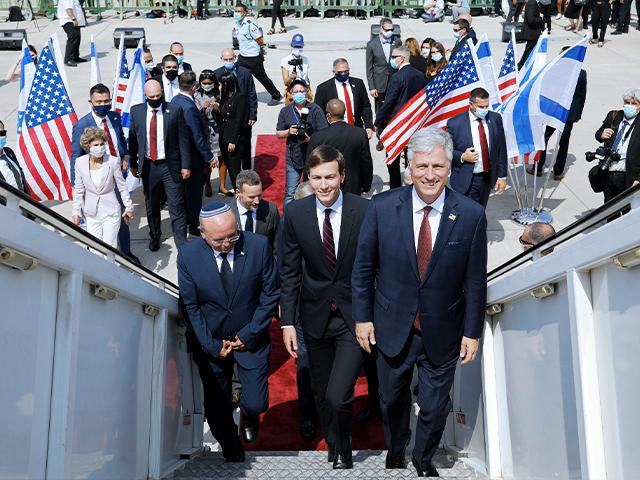 Israeli National Security Advisor Meir Ben-Shabbat, left, U.S. President Donald Trump's senior adviser Jared Kushner, center, and U.S. National Security Advisor Robert O'Brien, right, board El Al's airliner.(Nir Elias/Pool Photo via AP)