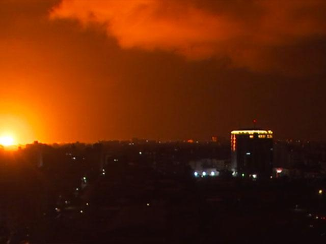 AP video still: Explosion lights up the sky with ball of flames after Israeli air strike on Hamas target in retaliation for recent rocket atttacks. 18 August 2020