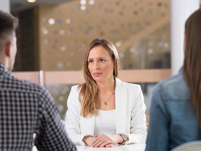 woman at a job interview