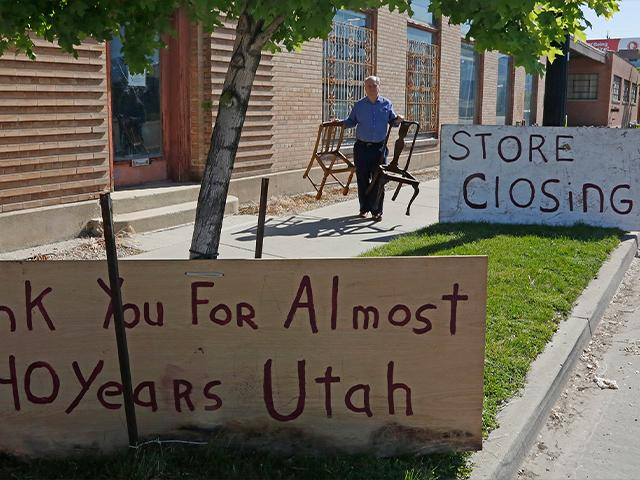 Business owner Scott Evans ended his art and antiques business, May 8, 2020, in Salt Lake City after 40 years, due to coronavirus impact (AP Photo/Rick Bowmer)
