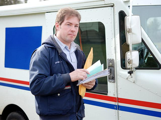 a mailman delivering mail