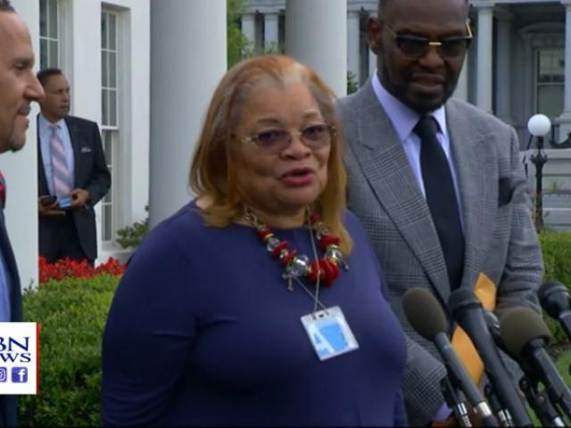 Evangelist Alveda King speaks to reporters after meeting with President Trump on Monday. (Image credit: Pool/APTN)