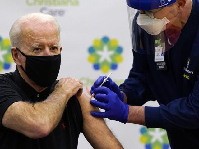 Biden receives his second dose of the coronavirus vaccine (AP Photo/Susan Walsh)