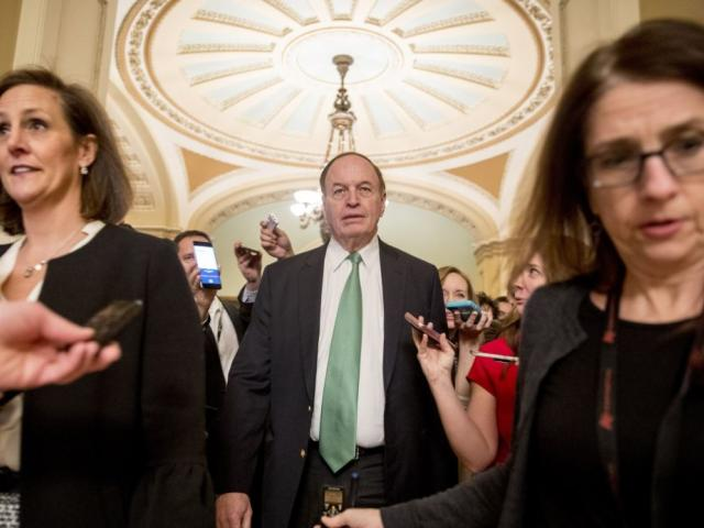 Rep. Richard Shelby, R-Ala., speaks to reporters as he leaves a closed-door meeting at the Capitol as bipartisan House and Senate bargainers were trying to negotiate a border security compromise.  (AP Photo/Andrew Harnik)
