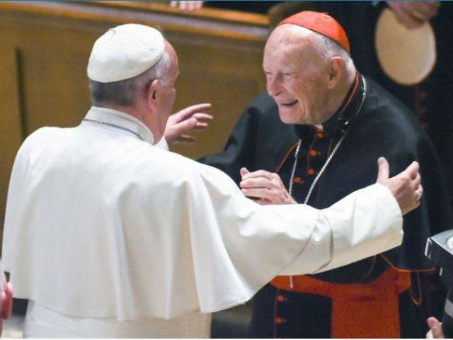 Pope Francis reaches out to hug Cardinal Archbishop emeritus Theodore McCarrick. Allegations that the most respected U.S. cardinal repeatedly sexually abused both boys and adult seminarians has raised questions about what the pope will do about it.