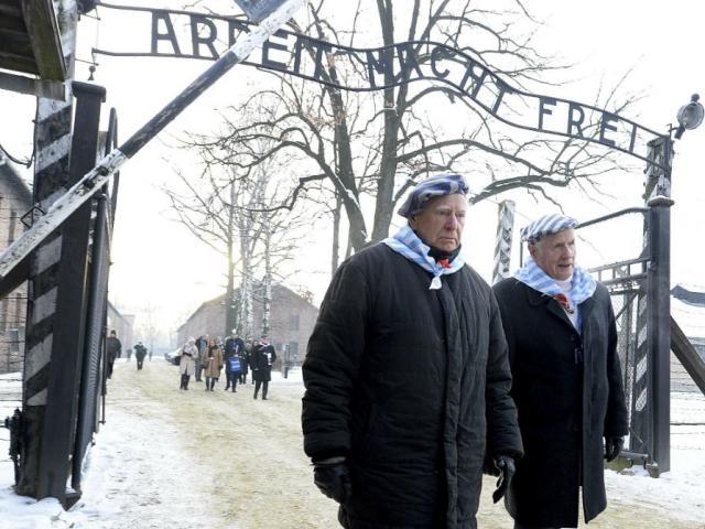 Survivors of Auschwitz gather on the 74th anniversary of the liberation of the former Nazi German death camp in Oswiecim, Poland, on Sunday, Jan. 27, 2019. (AP Photo/Czarek Sokolowski)