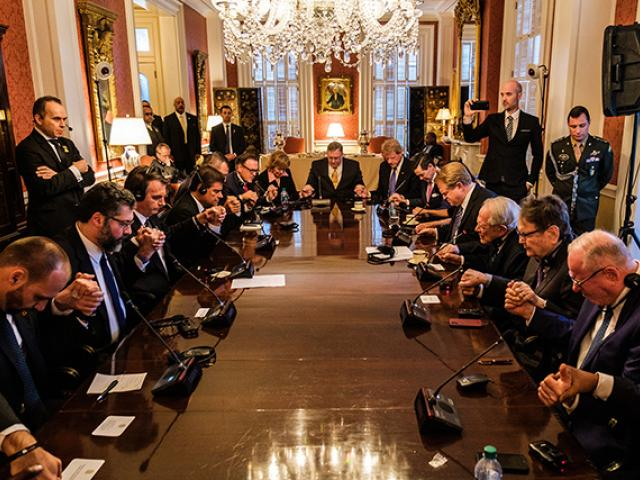 CBN Chairman Pat Robertson leads a prayer with evangelical Christian leaders for Brazilian President Jair Bolsonaro Tuesday night. (Image credit: Patrick Robertson, CBN News)