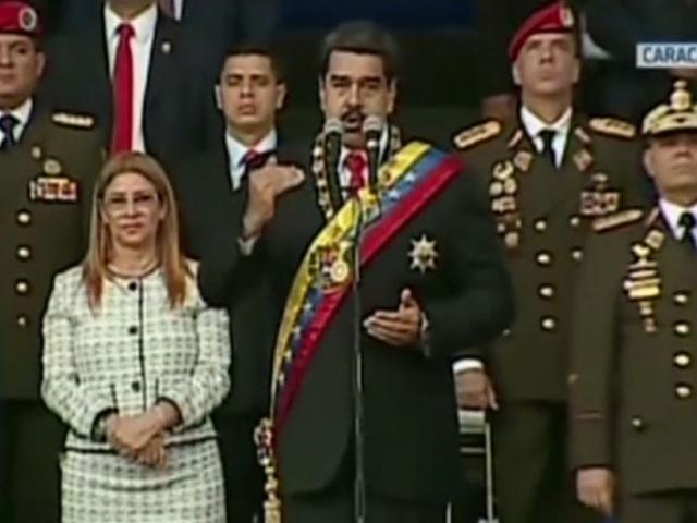 A video still from Venezuelan state television shows President Nicolas Maduro giving a speech before explosions are heard. The government says the explosions were from an armed drone attack. Image courtesy: AP