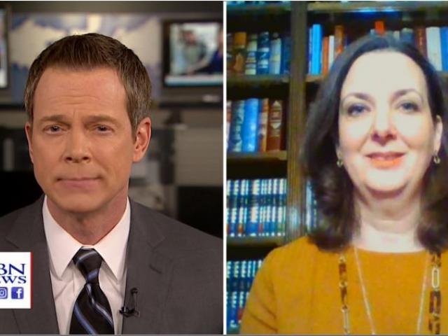 Melissa Henson, right, was interviewed by Mark Martin, left, CBN Newswatch anchor. (Image credit: CBN News)
