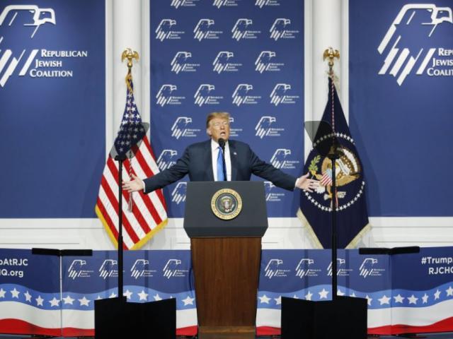 President Donald Trump speaks at an annual meeting of the Republican Jewish Coalition, Saturday, April 6, 2019, in Las Vegas. (AP Photo/John Locher)