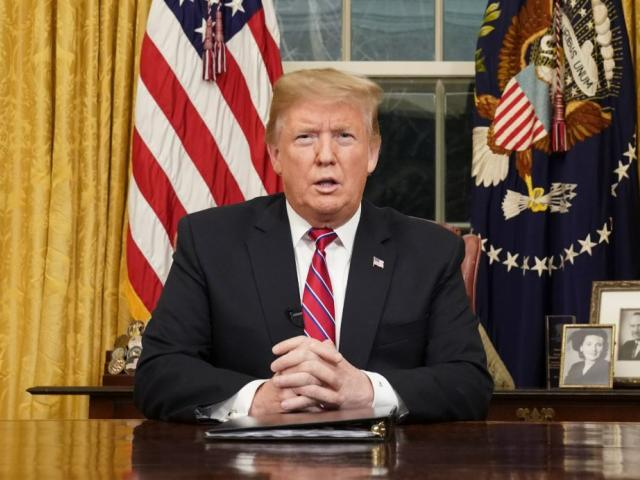 President Donald Trump speaks from the Oval Office of the White House as he gives a prime-time address about border security Tuesday night.