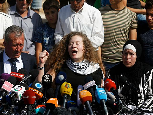 Ahed Tamimi, Flanked by her Parents, Vows to Continue Fight against Israel, Photo, AP