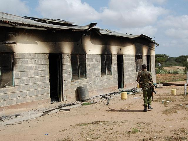 Al-Shabab terrorists attacked the settlement of Kamuthe in Garissa county, Kenya, Jan. 13, 2020, killing three teachers, setting fire to a police post, and destroying a telecommunications mast. (AP Photo)