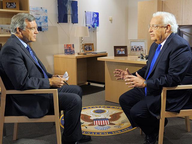 CBN News Middle East Bureau Chief Chris Mitchell Talks with US Ambassador to Israel David Friedman, Photo, CBN News, Jonathan Goff