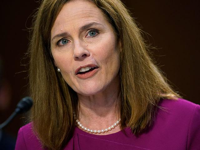 Supreme Court nominee Amy Coney Barrett speaks during a confirmation hearing before the Senate Judiciary Committee, Monday, Oct. 12, 2020, on Capitol Hill in Washington. (AP Photo/Patrick Semansky)