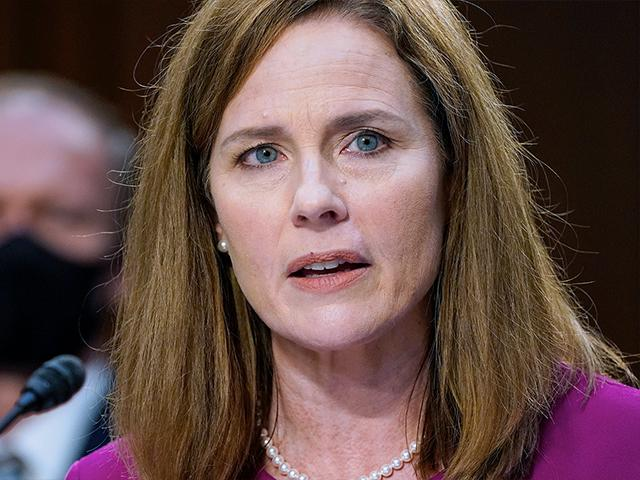 Supreme Court nominee Amy Coney Barrett speaks during a confirmation hearing before the Senate Judiciary Committee, Monday, Oct. 12, 2020, on Capitol Hill. (AP Photo/Patrick Semansky, Pool)
