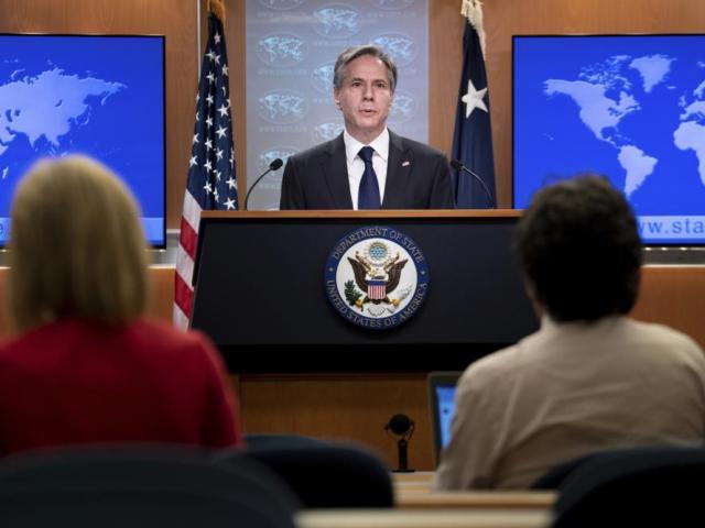 Secretary of State Antony Blinken speaks during a briefing at the State Department, Monday, August 2, 2021, in Washington. (Brendan Smialowski/Pool via AP)