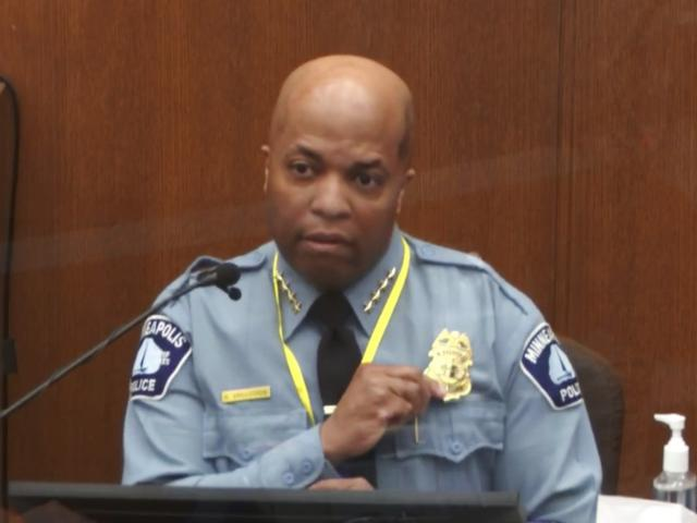 In this image from video, witness Minneapolis Police Chief Medaria Arradondo testifies. Court TV via AP, Pool)