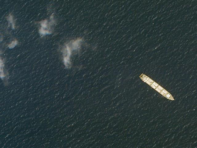 This Oct. 1, 2020, satellite photo from Planet Labs Inc. shows the Iranian cargo ship MV Saviz in the Red Sea off the coast of Yemen. (Planet Labs Inc. via AP)