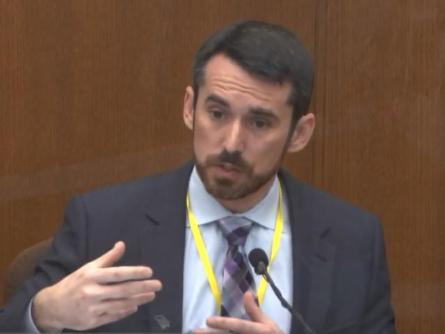 In this image from video, Seth Stoughton, testifies as Hennepin County Judge Peter Cahill presides over court Monday, April 12, 2021. (Court TV via AP, Pool)