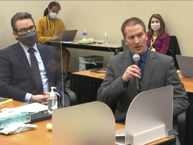 In this image from video, defense attorney Eric Nelson, left, and defendant, former Minneapolis police officer Derek Chauvin address Hennepin County Judge Peter Cahill during motions before the court Thursday, April 15, 2021. (Court TV via AP, Pool)