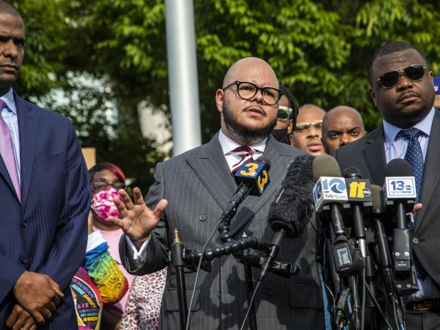 Attorney Chance Lynch speaks during a press conference outside the Pasqoutank County Public Safety building in Elizabeth City, N.C., Tuesday, May 11, 2021. (Travis Long/The News & Observer via AP)