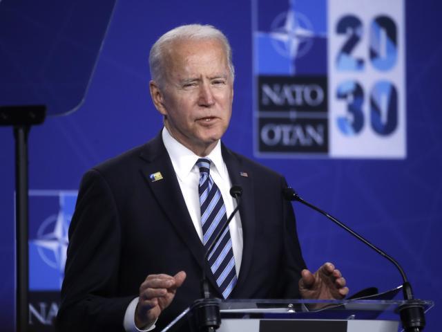 U.S. President Joe Biden speaks during a media conference during a NATO summit in Brussels, Monday, June 14, 2021.(Olivier Hoslet, Pool via AP)