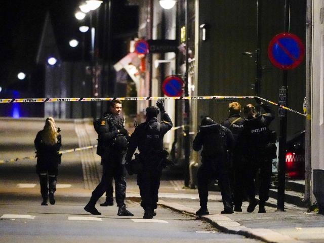 Police stand at the scene after an attack in Kongsberg, Norway, Wednesday, Oct. 13, 2021. (Hakon Mosvold Larsen/NTB Scanpix via AP)