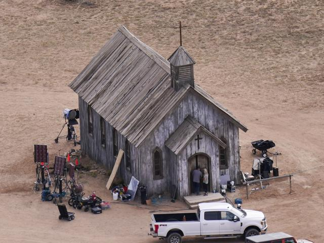 This aerial photo shows a film set at the Bonanza Creek Ranch in Santa Fe, N.M., Saturday, Oct. 23, 2021. Actor Alec Baldwin fired a prop gun on the set of a Western being filmed at the ranch on Thursday, Oct. 21. (AP Photo/Jae C. Hong)