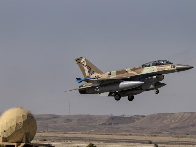 An Israeli F-16 takes off during the bi-annual multi-national aerial exercise known as the Blue Flag, at Ovda airbase near Eilat, southern Israel, Sunday, Oct. 24, 2021. (AP Photo/Tsafrir Abayov)