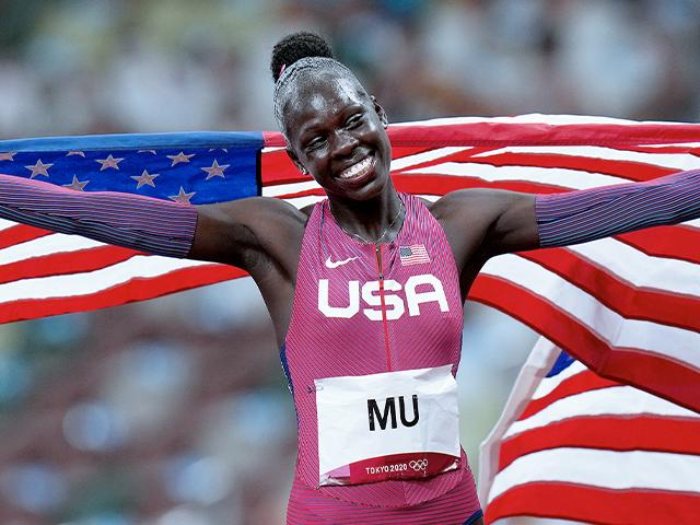 Athing Mu, of United States, reacts after winning the final of the women's 800-meters at the 2020 Summer Olympics, Aug. 3, 2021, in Tokyo. (AP Photo/Petr David Josek)